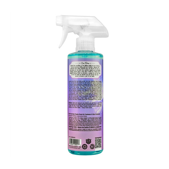 Chemical Guys AIR23416 - Stay Fresh Baby Powder Scented Premium Air Freshener and Odor Eliminator