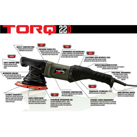 Chemical Guys BUF502220 - TORQ TORQ22D Random Orbital Polisher