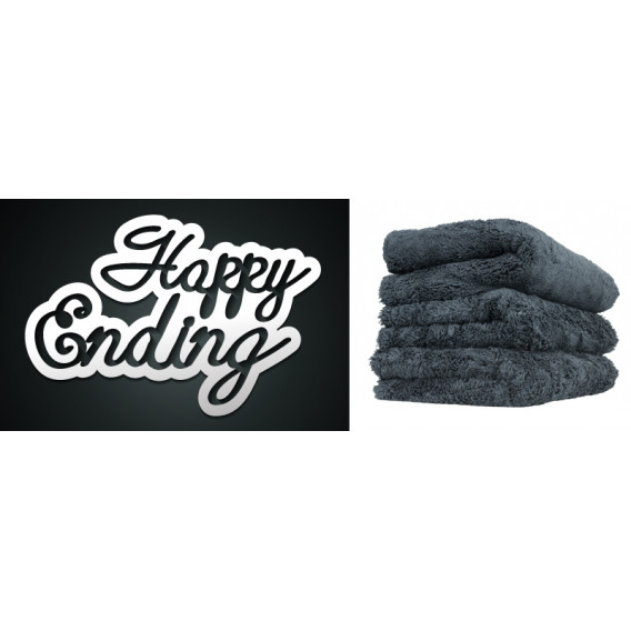 Happy Ending Edgeless Microfiber Towel, Schwarz 40x40cm